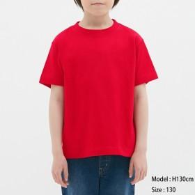 (GU)KIDS(男女兼用)コットンカラークルーネックT(半袖) RED 150