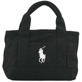 ポロラルフローレン POLO RALPH LAUREN MEDIUM TOTE (BLACK CANVAS W/WHITE PP)
