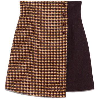 リリーブラウン Lily Brown ツイードチェック台形スカート (イエロー)