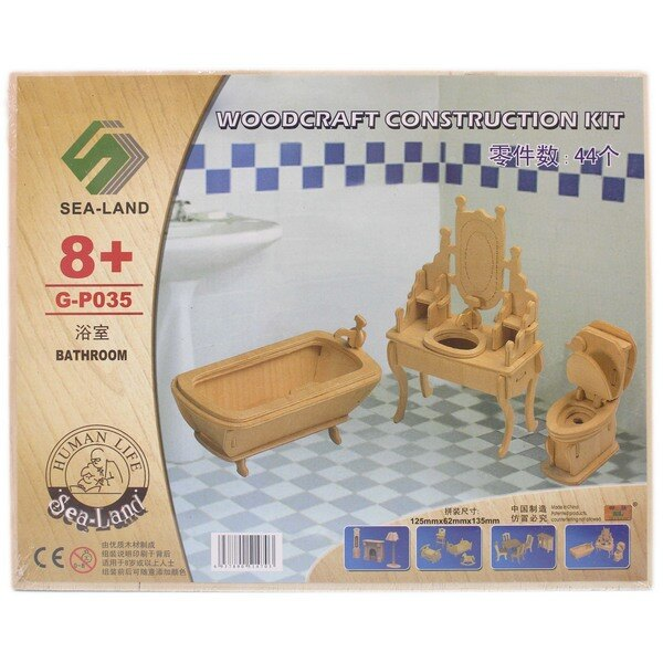 DIY木質拼圖模型 G-P035 浴室 中2片入/一個入{促49} 木製浴室模型 家具模型 四聯組合式拼圖 3D立體拼圖-鑫