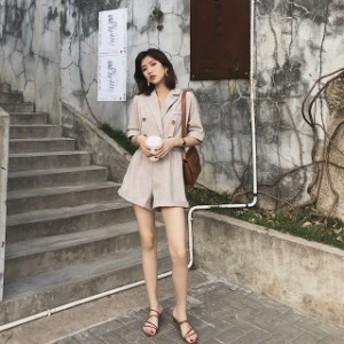 オールインワン サロペット レディース ショート パンツ ショーパン 韓國 Vネック カジュアル リゾート