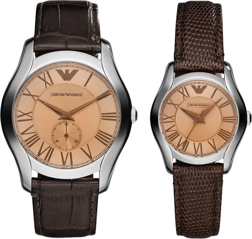 EMPORIO ARMANI 亞曼尼 AR9110 經典情人對錶 / 咖啡面 43+27mm。人氣店家大高雄鐘錶城的發燒新貨有最棒的商品。快到日本NO.1的Rakuten樂天市場的安全環境中盡情網路購