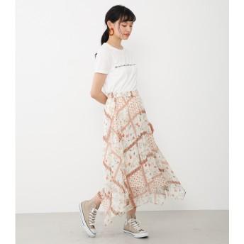 アヴァンリリィ Avan Lily フラワースカーフ柄SK (オフホワイト)