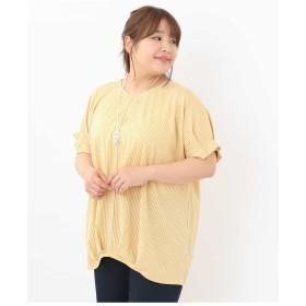 eur3 【a.v.v×eur3】【大きいサイズ】ストライプVネックカットソー Tシャツ・カットソー,イエロー