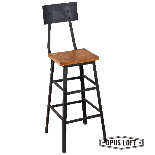 復古LOFT工業風靠背方型吧檯椅