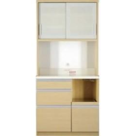 単品 大型レンジ対応 清潔感のある印象が特徴のキッチンボード 用 開梱サービスなし (収納幅 90cm)(収納高さ 193cm)(収納奥行 51cm)(カラ