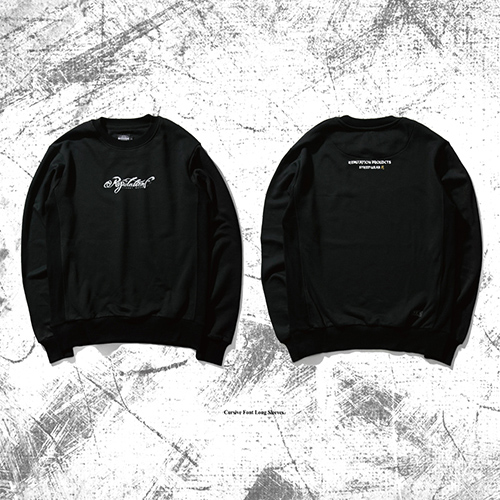 Cursive Font Long Sleeves- 限定雕花大學TEE / 黑x白