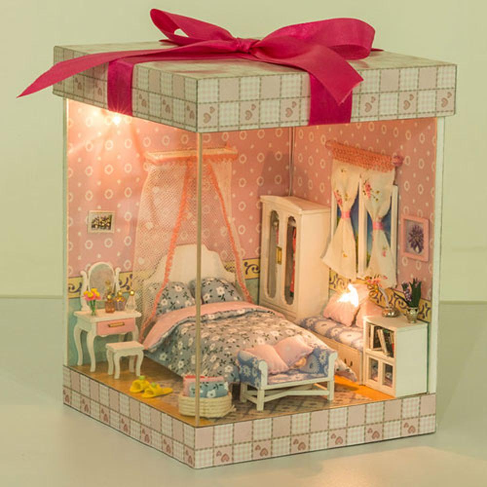 【WT16122113】 手製DIY小屋 禮物盒造型 手工拼裝房屋模型建築 音樂盒 含展示盒-濃情密意