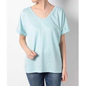 【30%OFF】 マークケイン ロールアップスリーブVネックTシャツ レディース ブルー系 M 【MARC CAIN】 【セール開催中】