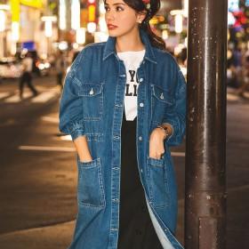 ベルーナ デニムロングジャケット ブルー/青 L レディースレディースファッション アパレル おすすめ 人気 通販 ランキング 安い 大きいサイズ コーデ アウター コート