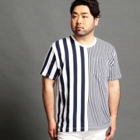 [マルイ]【セール】<大きいサイズ>ロープジャガードボーダーTシャツ/ハイダウェイ(大きいサイズ)(HIDEAWAYS)