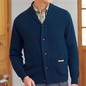 ベルーナ <パリス>ウール入り暖かショール衿セーター オフホワイト S メンズ