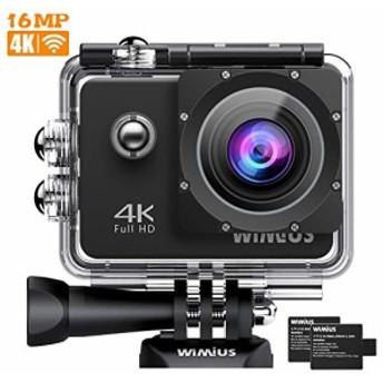 WIMIUS アクションカメラ 2インチ 4K高画質 WiFi搭載 40M防水カメラ 超広角レンズ 豊富な付属品付き ウェアラブルカメラ バイク/自転車/