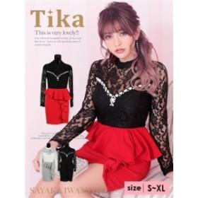 【胸元ビジューがアクセント☆彡 】【Tika ティカ】レースビジュー付きペプラムフリルタイトドレス[S/M/L/XL] [ブラックxブラック/ブラッ