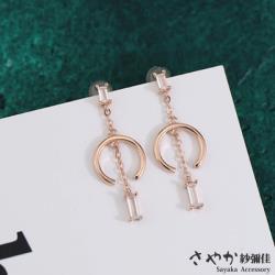 【Sayaka紗彌佳】仲夏夜之夢幾合造型玫瑰金鋯石垂墜耳環