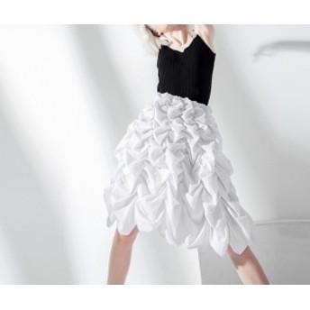 シャーリング デコレーション ミニスカート☆膝丈 黒 白 デザインコンシャス モード系