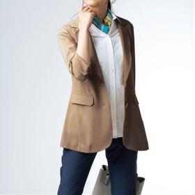 【レディース】 ブラウス感覚のテーラードジャケット ■カラー:ベージュ ■サイズ:M-ショート,L-ショート,LL-ショート,3L-ショート,S-ロング,L-ロング,LL-ロング,3L-ロング