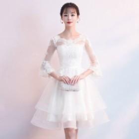 花嫁 上品 総レース パーティー ドレス レディース 大きいサイズ 袖あり 膝丈 結婚式 二次會 シースルー 白