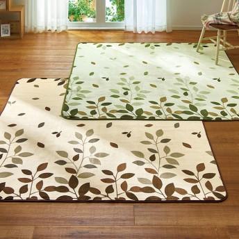 ベルーナインテリア 2柄から選べるお買得ホットカーペットカバー2色組<ラグ・絨毯> リーフ 3畳 約200×240cm