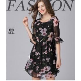 夏ワンピース 花柄ワンピ フリルスカート シフォン フリル袖 フラワープリント 日常 デート ミス 大きいサイズ