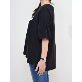 Tシャツ - HEART MARKET FLAP肩落ちバルーン袖プルオーバーレディース トップス プルオーバー 半袖 ホワイト ブラック 袖バルーン SSTP