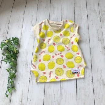 SALE!【100】レモネード柄*小袖Tシャツ