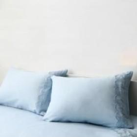 単品 レースデザインフリルカバーリング 用 枕カバー 1枚 (メインカラー ブルー)