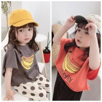 2019夏 子ども服 韓国 半袖 コウモリ レジャー 可愛い 女の子 半袖トップス Tシャツ シャツ バナナ