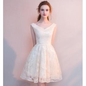 Vネック ドレス ワンピース レディース ミニ ミニドレス 大きいサイズ 二次會 花嫁 ウエディング 20代 30代
