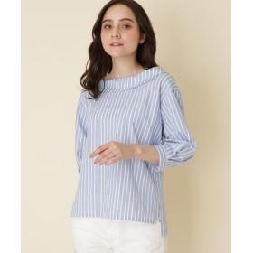 シャツ - Couture brooch 【WEB限定サイズ(LL)あり/手洗い可】ロールカラーストライプブラウス