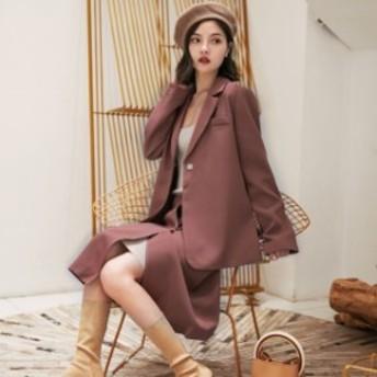 テーラード ジャケット 巻き ラップ スカート セットアップ スカートスーツ レディース お呼ばれ 秋 冬
