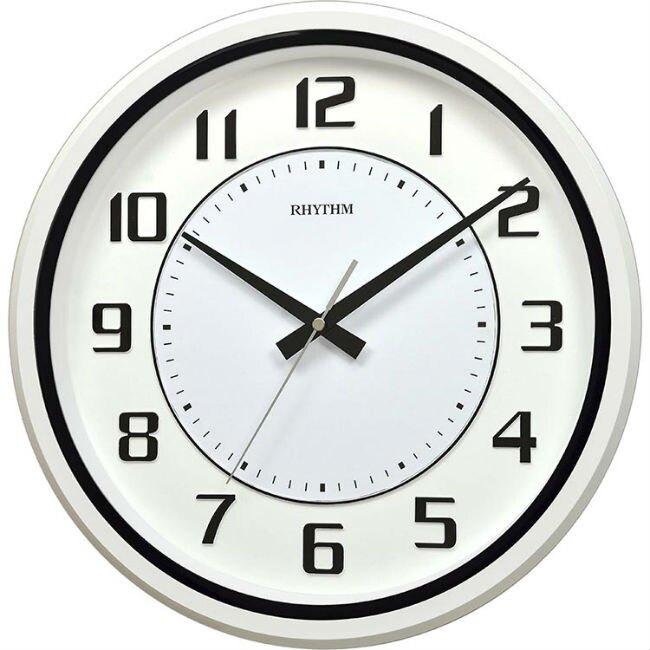 RHYTHM 麗聲鐘(CMG508) 乳白黑圓形時尚掛鐘/34cm