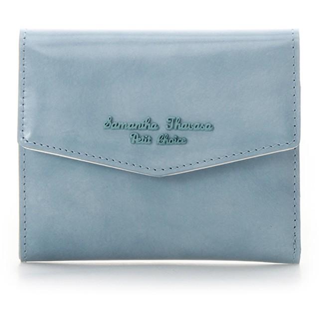 サマンサタバサプチチョイス アンティークガラスレザーシリーズ 折財布 ライトブルー