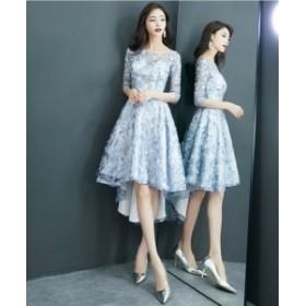 ミニ ドレス ワンピース セクシー パーティー 結婚式 レディース 大きいサイズ 袖あり フィッシュテール 花