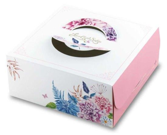 【基本量】手提布丁盒8寸/愛在春天/100個(附銀盤)
