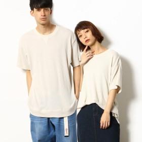 [マルイ] ワッフル ワイドシルエットTシャツ/パープル&イエロー(Purple & Yellow)