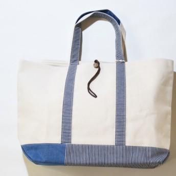 秋のセール‼︎ REMADE帆布パチワーク TOTE BAG ヒッコリーLサイズ