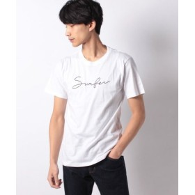 (STYLEBLOCK/スタイルブロック)筆記ロゴプリントクルーネック半袖Tシャツ/メンズ ホワイト系