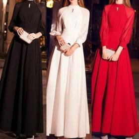 ワンピース ドレス 春 3カラー 長袖 ボリューム袖 シンプル ロング 上品 エレガント 可愛い おしゃれ 大人 レディース 結婚式 fe-2659