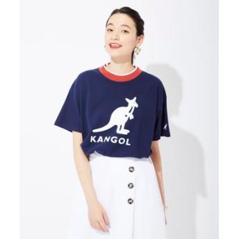 KANGOL リブラインTシャツ レディース ネイビー