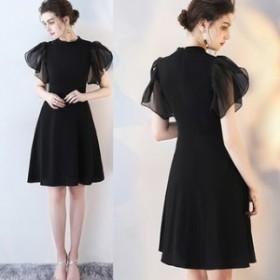 ワンピース ドレス 春 ブラック 半袖 シンプル 上品 エレガント 可愛い おしゃれ 大人 レディース 結婚式 fe-2555