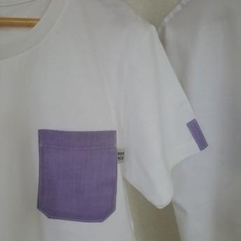 SALE【レディースL】パープル無地・ママミラ・ポケット付き白Tシャツ(WL)10000058