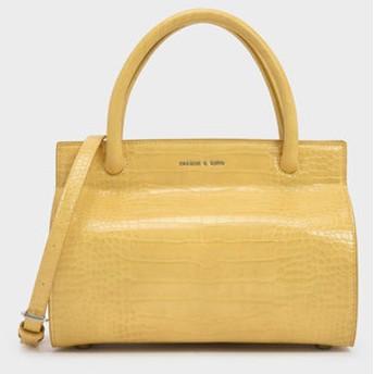 CHARLES&KEITH チャールズ&キース Croc-Effect Double Handle Bag