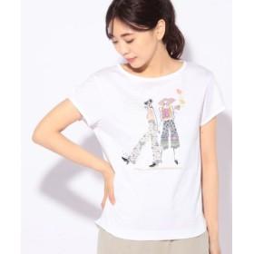 (CARA O CRUZ/キャラ・オ・クルス)ガールモチーフTシャツ/レディース ホワイト