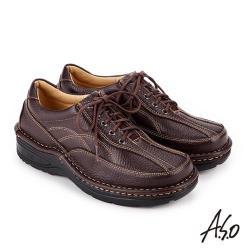 A.S.O 抗震雙核心 綁帶奈米氣墊休閒皮鞋 深咖啡