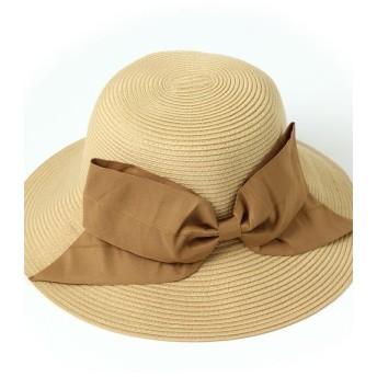 リアルスタイル リボン付きウォッシャブルハット レディース 帽子 ハット 紫外線対策 UVカット帽子 UV対策 日焼け防止 UVケア UVハットつば広 日よけ おしゃれ 旅行 レディース ベージュ F 【REAL STYLE】