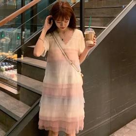 ワンピース - DearHeart ★トレンドファッション♪チュールフリルボーダー柄ワンピース★春夏新作 韓国ファッション