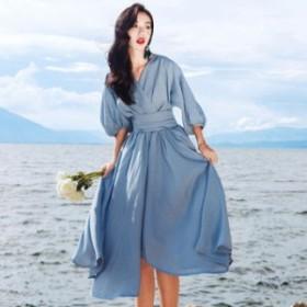 ワンピース 春 ブルー ふんわり袖 シンプル 七分袖 可愛い おしゃれ 大人 レディース 結婚式 fe-2476