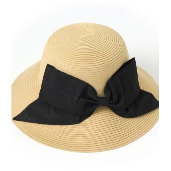 リアルスタイルリボン付きウォッシャブルハット レディース 帽子 ハット 紫外線対策 UVカット帽子 UV対策 日焼け防止 UVケア UVハットつば広 日よけ おしゃれ 旅行レディースベージュ系1F【REAL STYLE】