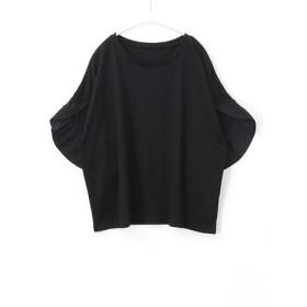 カットソー - HAPPY急便 by VERITA. JP まるで花に包まれたよう!袖フリル ゆるトップス/トップス tシャツ Tシャツ カットソー ボリューム袖 5分袖半袖レディース大きいサイズ